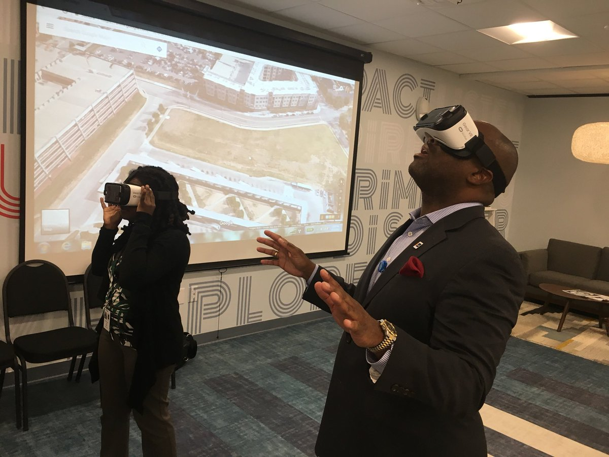 Looking through virtual reality glasses for Innovate Durham