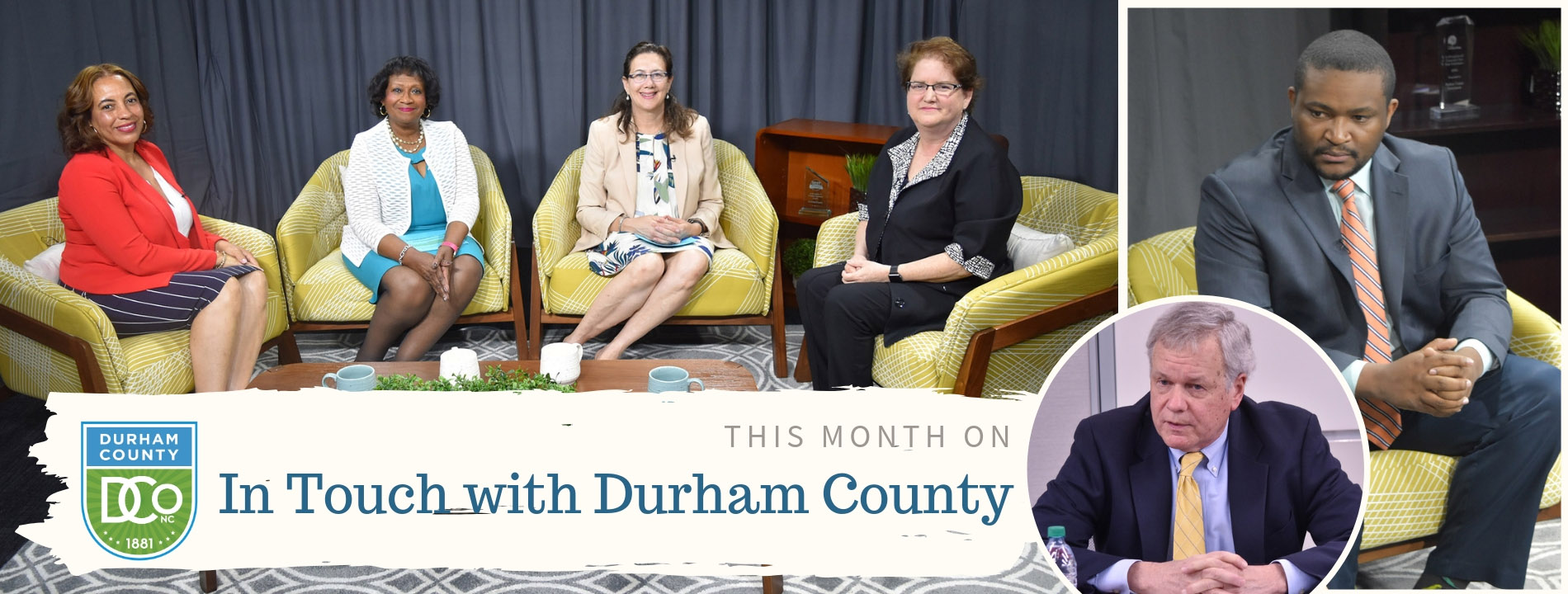 In Touch With Durham County promo with hosts, Pre-K representatives at table, Board of Elections Chair and Director of Durham County Elections