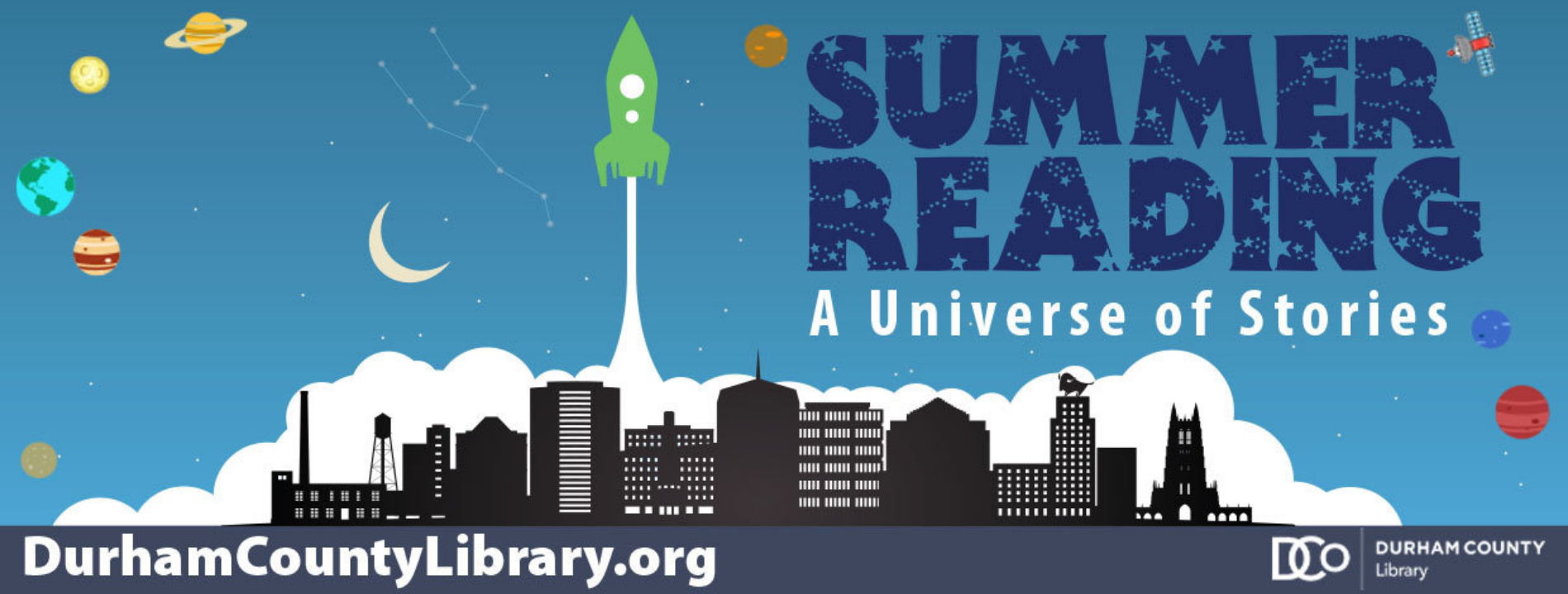 Summer Reading 2019 banner for Durham County Library