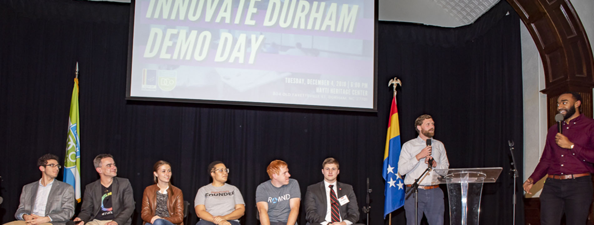 Innovate Durham Demo Day panel on stage