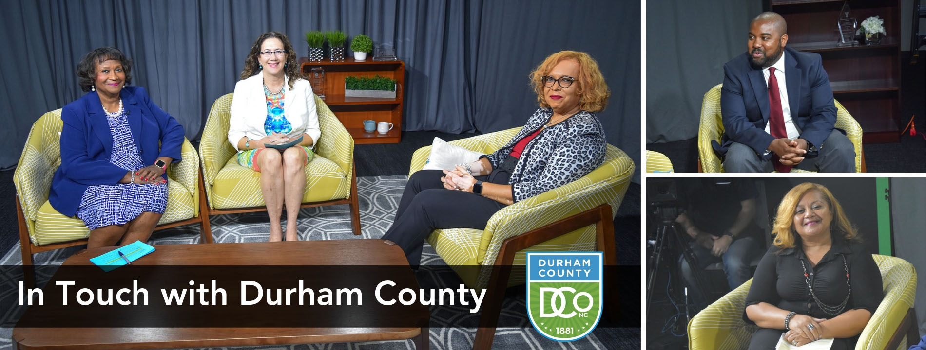 In Touch with Durham County promo with guests J.T. Tabron and Sharon Marsh from Register of Deeds on right photos; hosts Deborah Craig-Ray and Wendy Jacobs with guest Gayle Harris in left photo