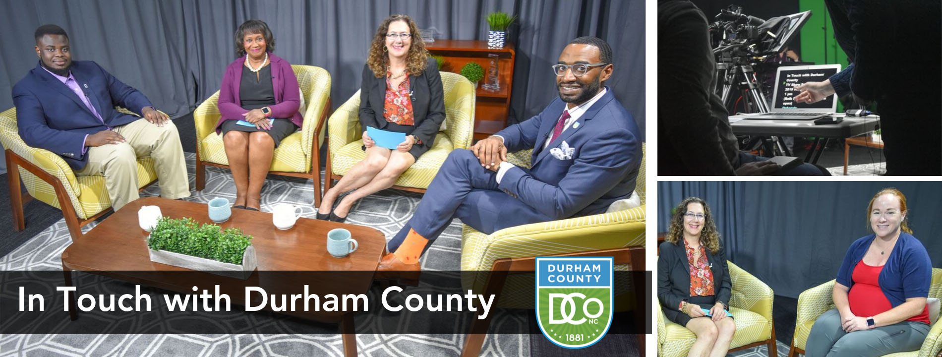 In Touch with Durham County promo with guests sitting at chairs and shot of teleprompter