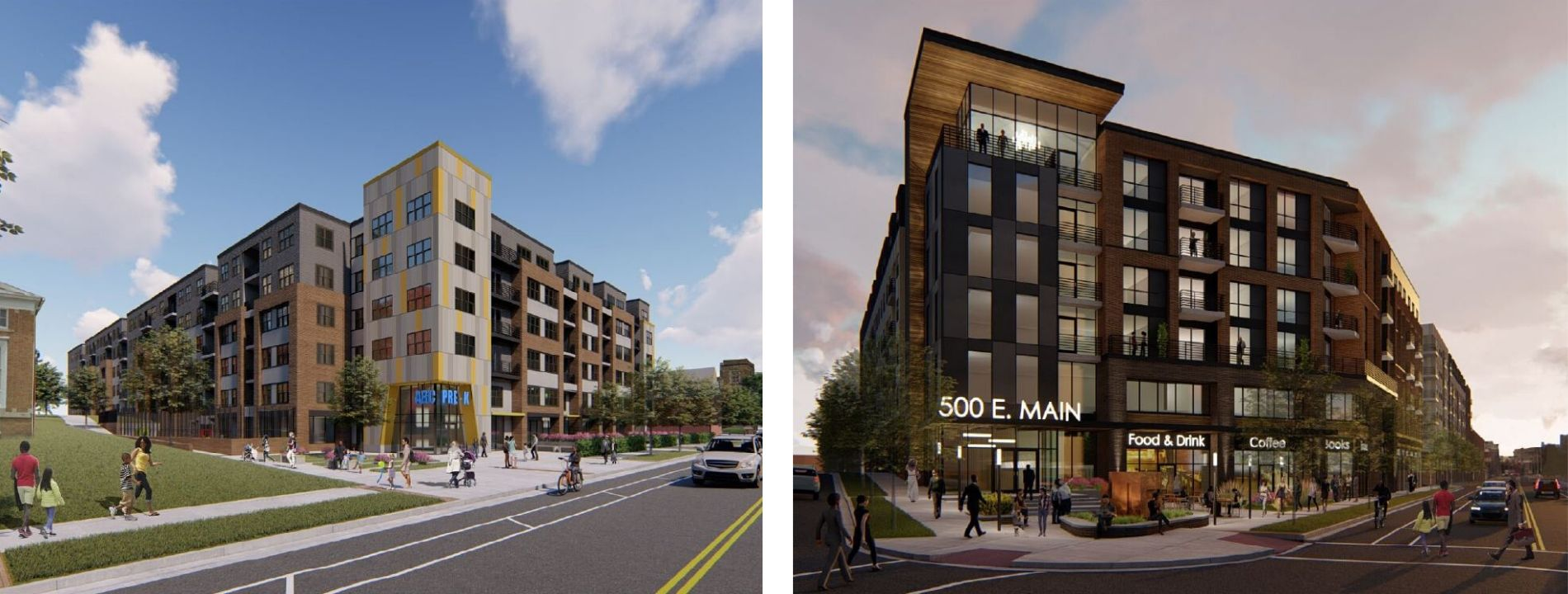 Renderings of what the new development at 300 & 500 blocks of E. Main St.
