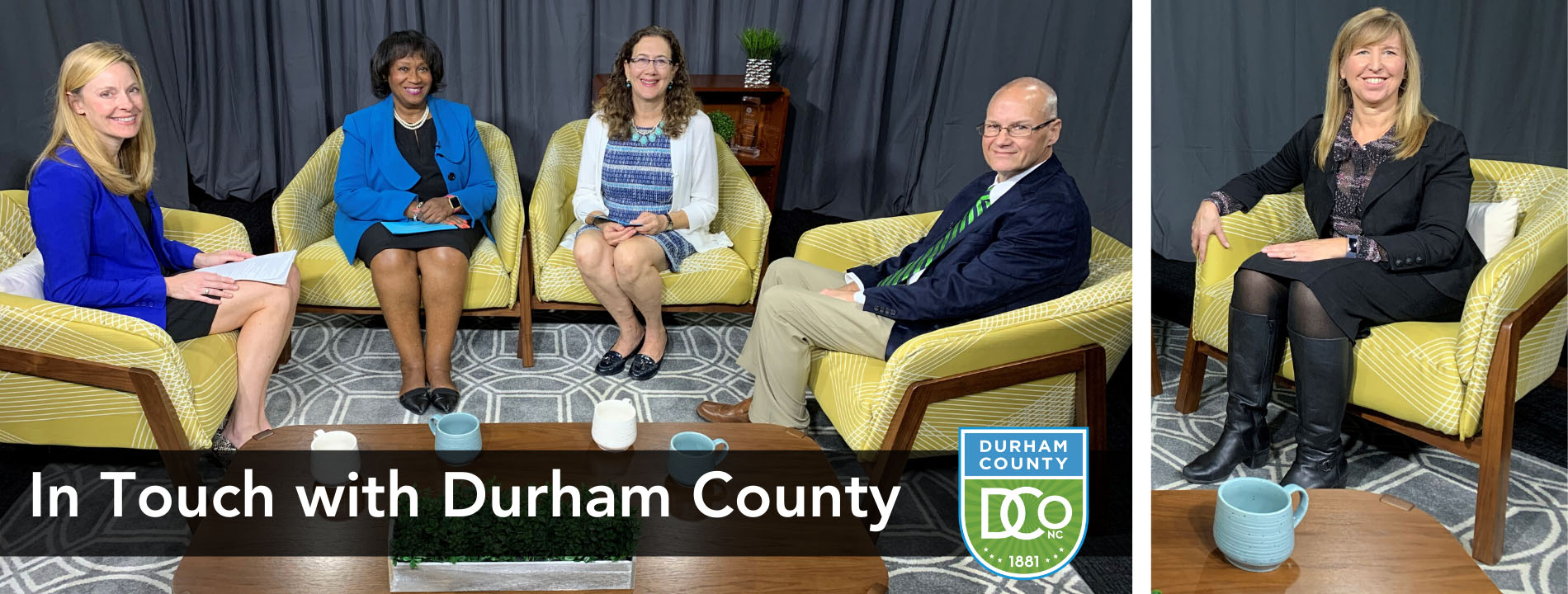 In Touch with Durham County November 19. Guests and hosts sitting at table.
